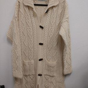 ARAN CRAFTS Vintage Cable Sweater/Jacket M Cream